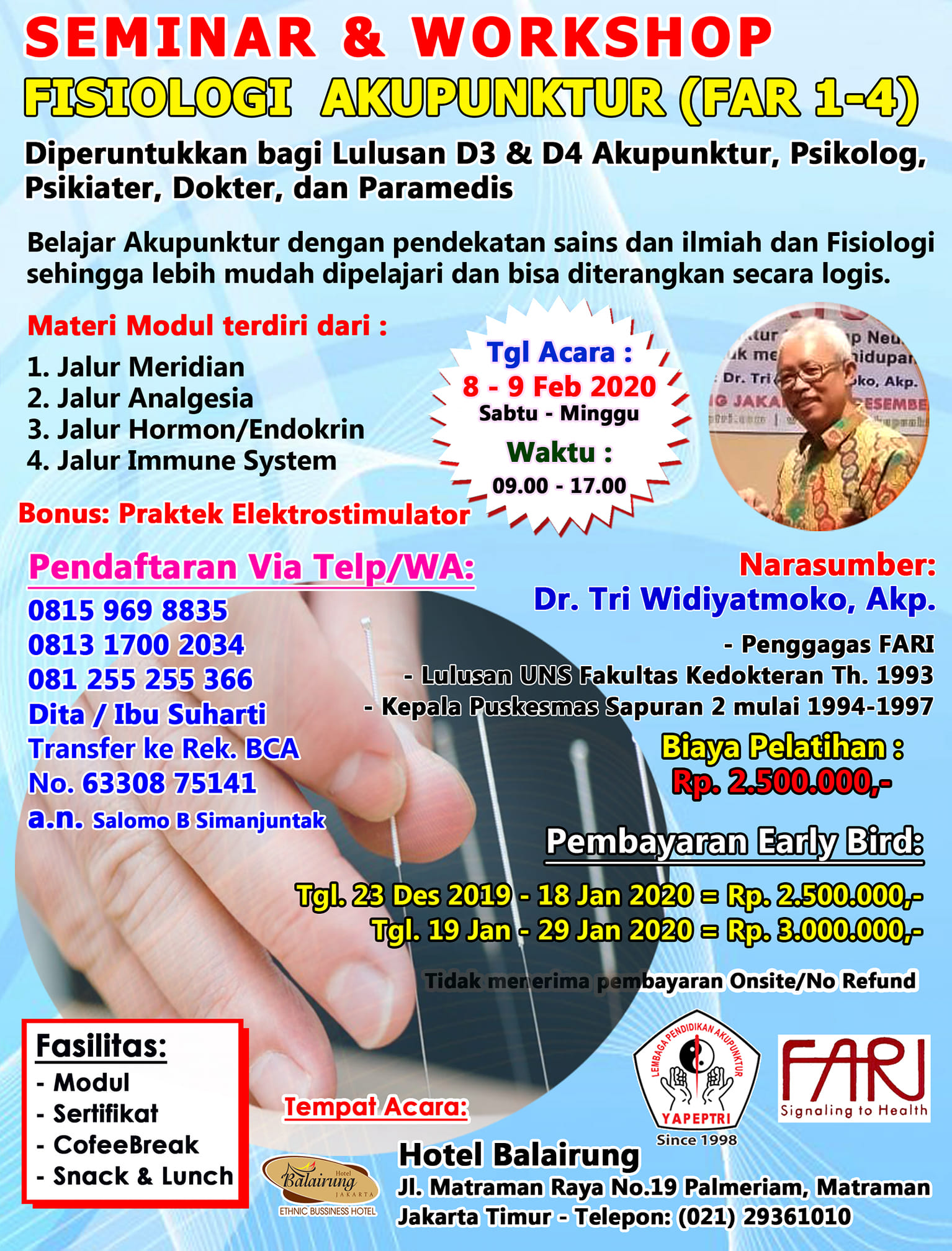 Seminar & Workshop Fisiologi Akupunktur (FAR 1-4)