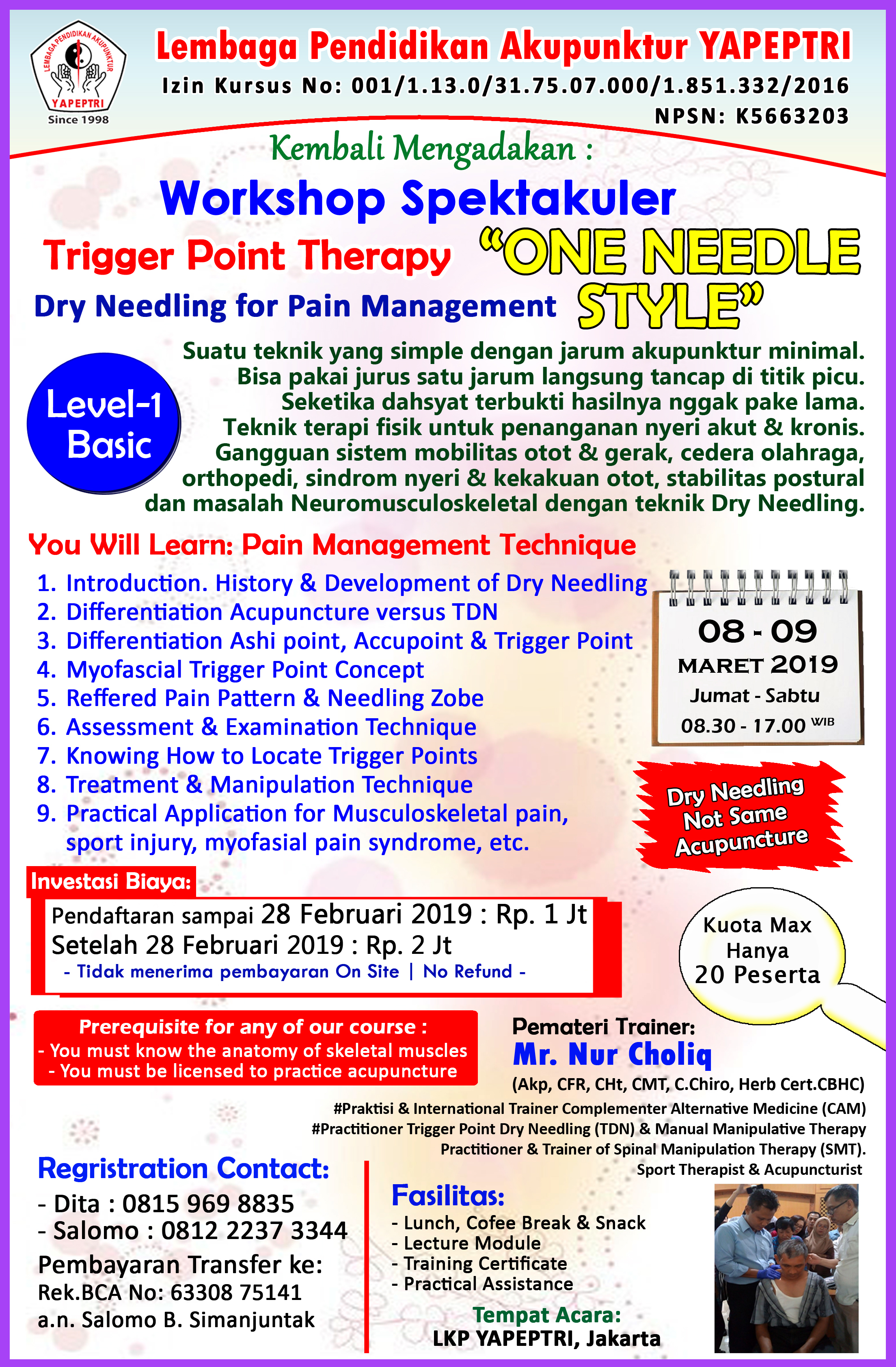 """Seminar dan Workshop Trigger Point Therapy """"ONE NEEDLE STYLE"""""""