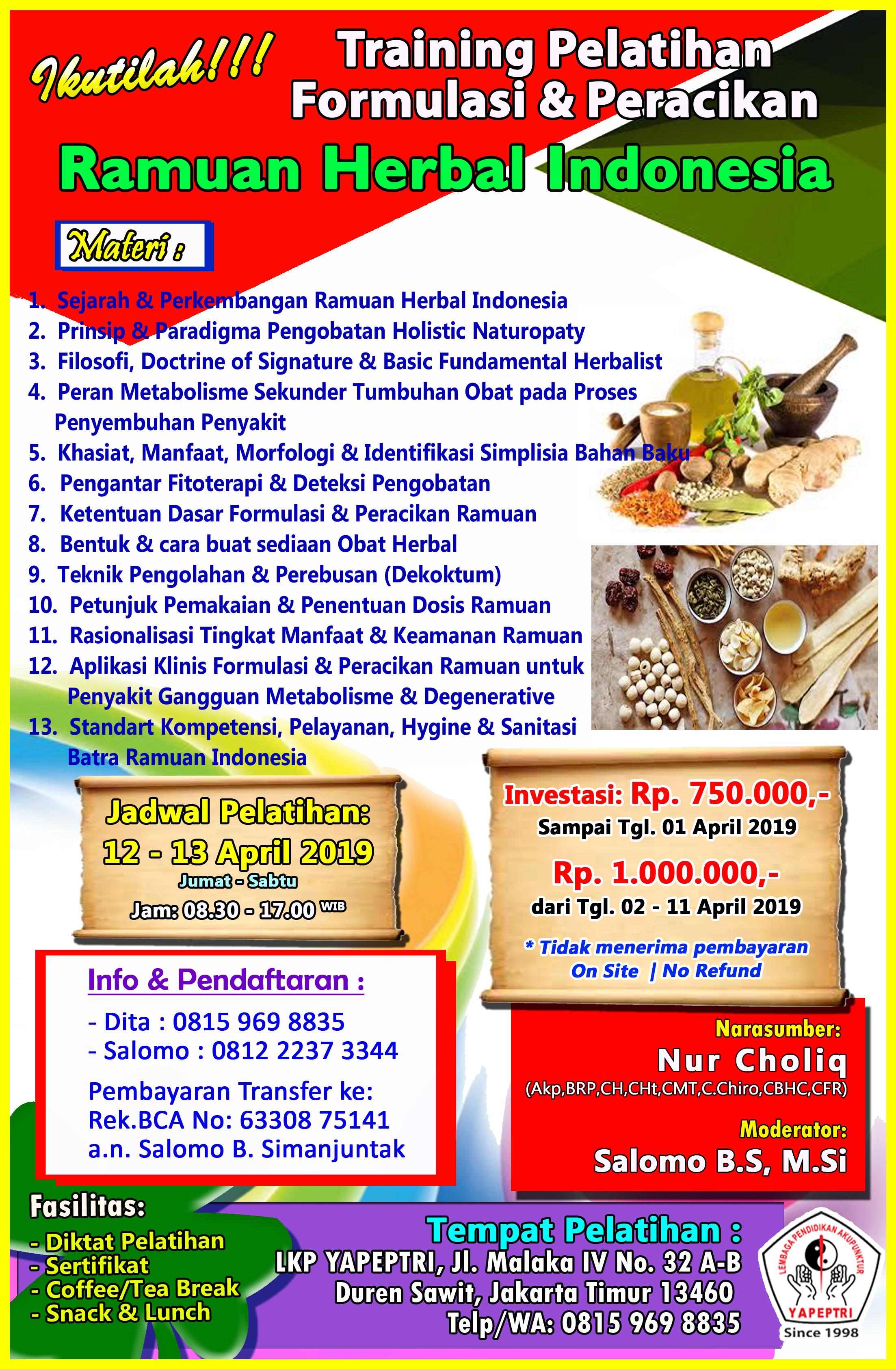 Nama-nama Peserta Pelatihan formulasi & peracikan Ramuan Herbal Indonesia