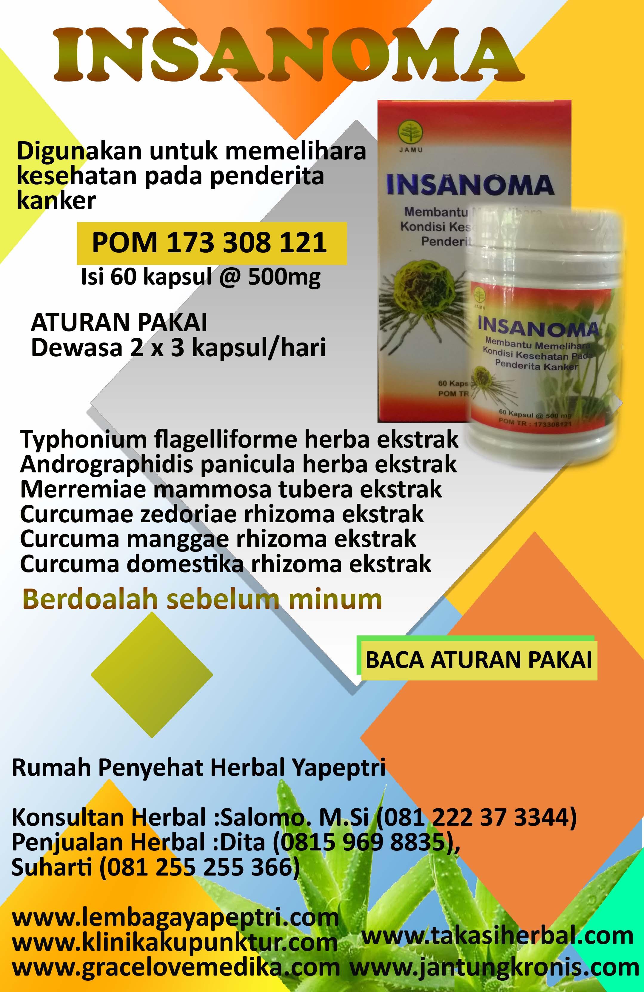 HERBAL INSANOMA Digunakan untuk memelihara kesehatan pada penderita kanker