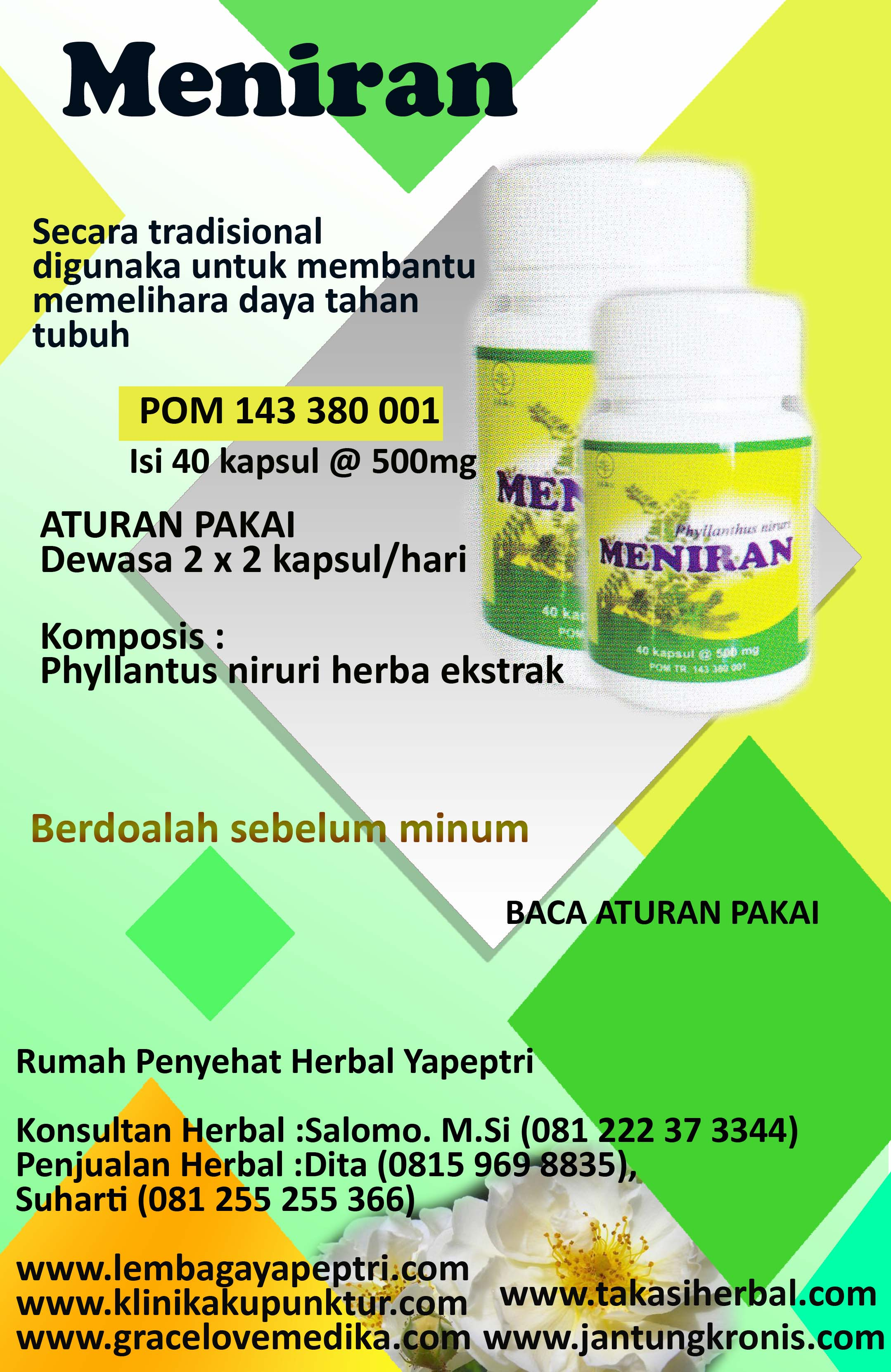 HERBAL MENIRAN digunakan untuk membantu memelihara daya tahan tubuh