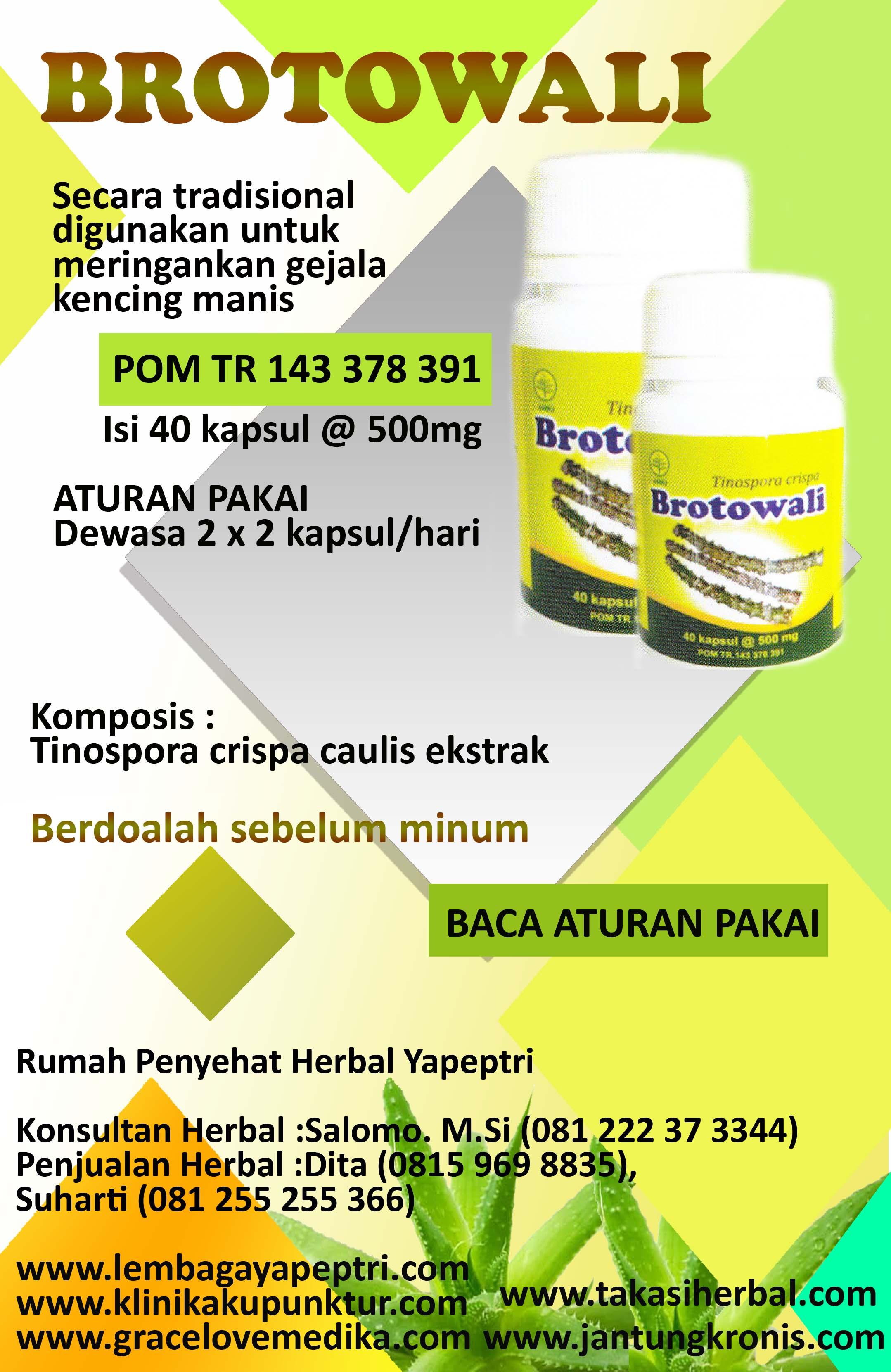 HERBAL BROTOWALI Digunakan untuk meringankan gejala kencing manis