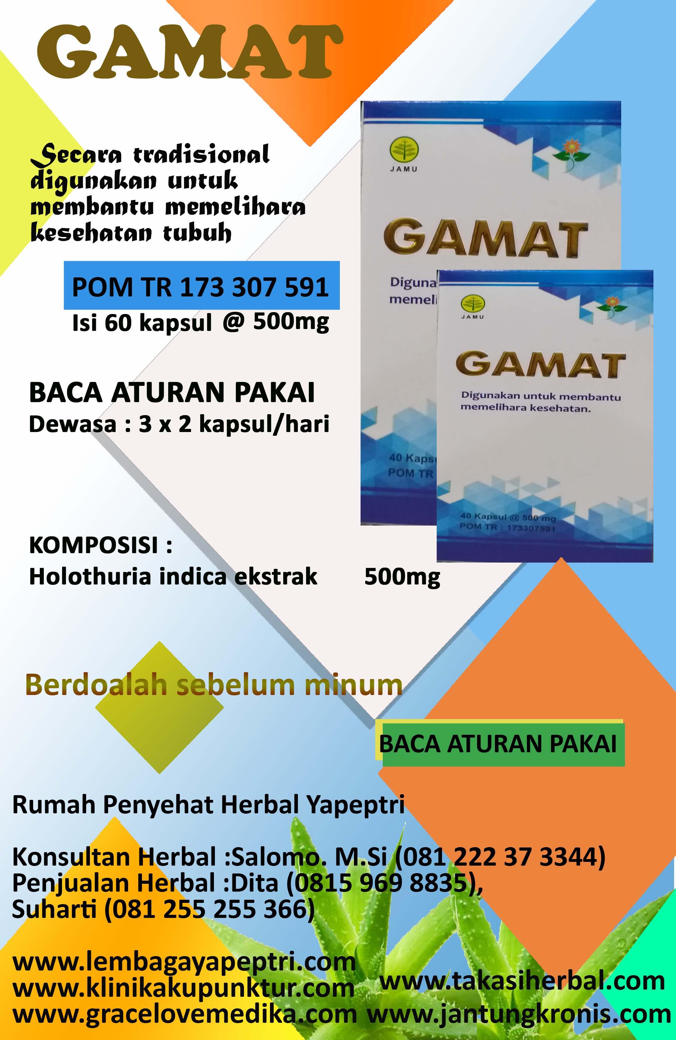 HERBAL GAMAT Digunakan untuk membantu memelihara kesehatan tubuh