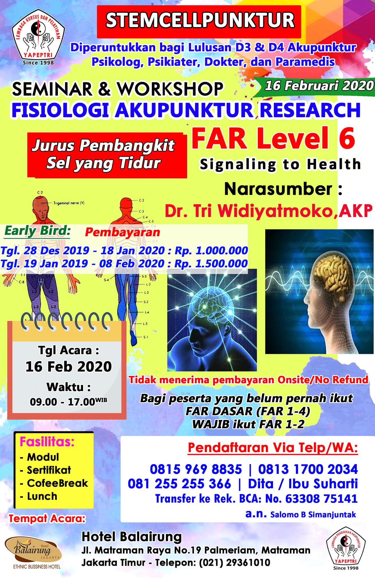 Seminar & Workshop Fisiologi Akupunktur Research (FAR Level 6)